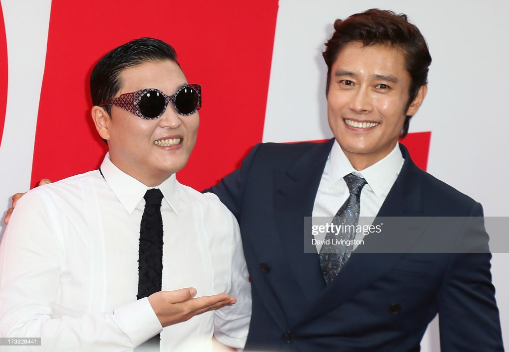 Singer Psy (L) and actor Byung-hun Lee attend the premiere of Summit Entertainment's 'RED 2' at Westwood Village on July 11, 2013 in Los Angeles, California.