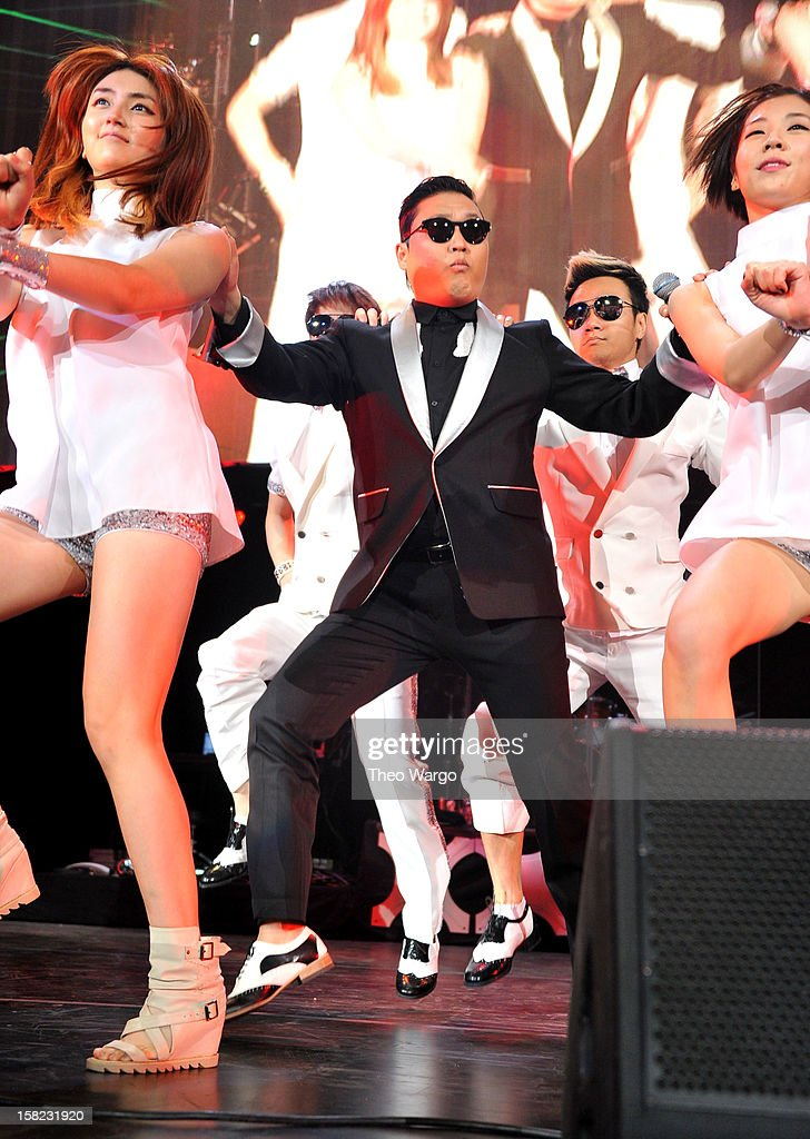 Singer PSY performs onstage during Hot 99.5's Jingle Ball 2012, presented by Charleston Alexander Diamond Importers, at The Patriot Center on December 11, 2012 in Washington, D.C.
