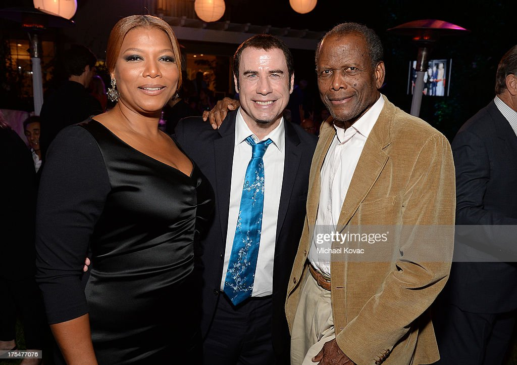 Singer Queen Latifah, actors John Travolta, and Sidney Poitier attend the 87th birthday celebration of Tony Bennett and fundraiser for Exploring the Arts, the charity organization founded by Mr. Bennett and wife Susan Benedetto, hosted by Ted Sarandos & Nicole Avant Sarandos among celebrity friends and family on August 3, 2013 in Beverly Hills, California.