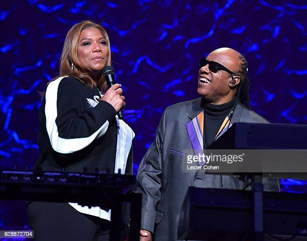 Singer Queen Latifah and Stevie Wonder perform at Stevie's 20th Annual House Full of Toys Benefit Concert at Microsoft Theater on December 9 2016 in...