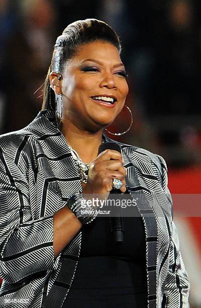 Singer Queen Latifah performs onstage during the Super Bowl XLIV Pregame Show at the Sun Life Stadium on February 7, 2010 in Miami Gardens, Florida.