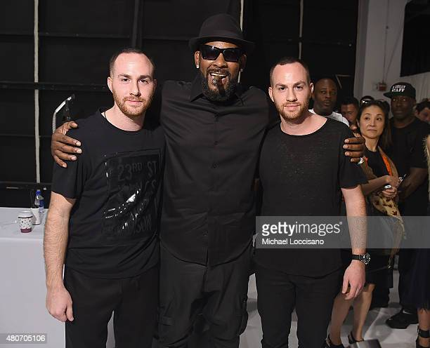 Singer R Kelly and designers Ariel Ovadia and Shimon Ovadia pose backstage at Ovadia Sons during New York Fashion Week Men's S/S 2016 at Skylight...