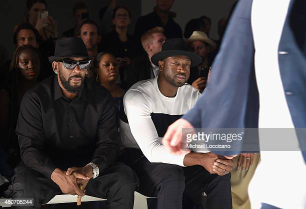 Singer R Kelly and professional basketball player Dwyane Wade attend the Ovadia Sons front row during New York Fashion Week Men's S/S 2016 at...