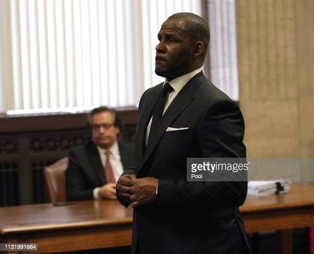 Singer R Kelly appears in court for a hearing to request that he be allowed to travel to Dubai at the Leighton Criminal Court Building on March 22...