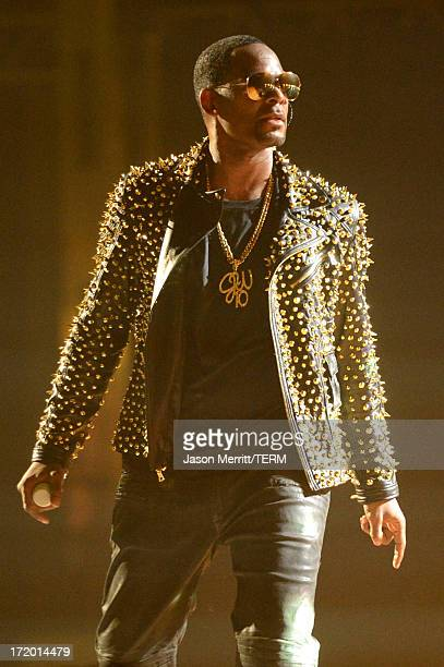 Singer R Kelly performs onstage during the 2013 BET Awards at Nokia Theatre LA Live on June 30 2013 in Los Angeles California