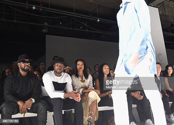 Singer R Kelly professional basketball player Dwyane Wade and his fiancee actress Gabrielle Union and Elaina Watley attend the Ovadia Sons front row...