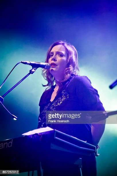 Singer Rachel Goswell of the British band Slowdive performs live on stage during a concert at the Huxleys on October 3 2017 in Berlin Germany