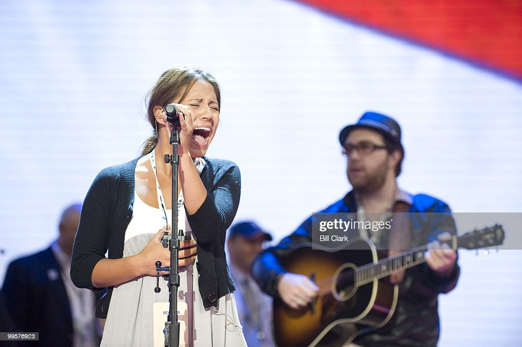 Singer Rachel Lampa runs through her sound check at the Republican National Convention at the Xcel Center in St. Paul, Minn., on Tuesday, Sept. 2, 2008.
