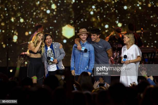 Singer Rachel Platten actor Anthony Gonzalez singers Jack Johnson Jack Gilinsky and Olivia Holt speak at Key Arena on May 3 2018 in Seattle Washington