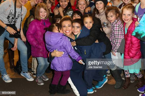 Singer Rachel Platten greets guests during the Team USA WinterFest Presented by Hershey's on February 19 2018 in Seoul South Korea