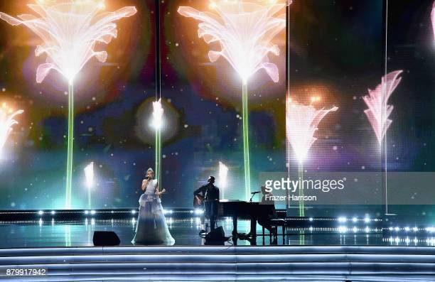 Singer Rachel Platten performs during the 2017 Miss Universe Pageant at The Axis at Planet Hollywood Resort Casino on November 26 2017 in Las Vegas...