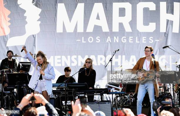 Singer Rachel Platten performs during the Women's March Los Angeles 2018 on January 20 2018 in Los Angeles California