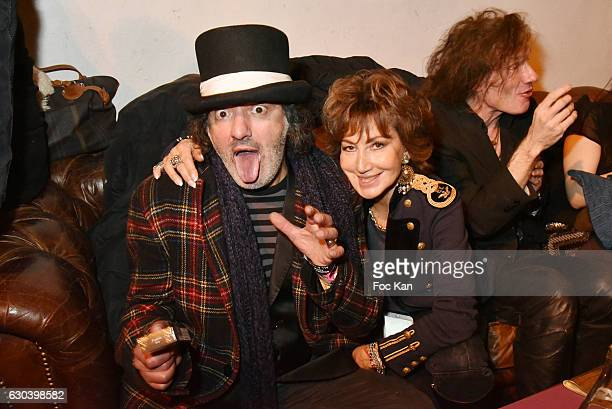 Singer Rachid Taha PR Betty de Fremont and musician Yan Pechin attend the 'Back in 1966' Concert at La Bellevilloise on December 21 2016 in Paris...
