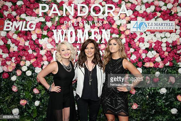 Singer RaeLynn singer Martina McBride and singer Cassadee Pope attend Pandora Presents Women In Country on October 14 2015 at The Altman Building in...