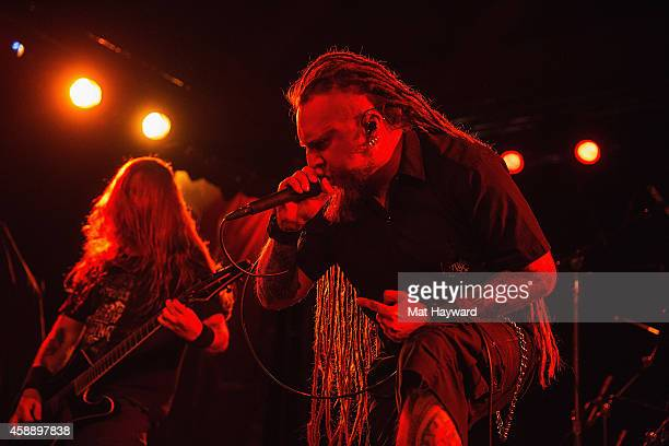 Singer Rafal Rasta Piotrowski of the band Decapitated performs on stage at Showbox Sodo on November 12 2014 in Seattle Washington