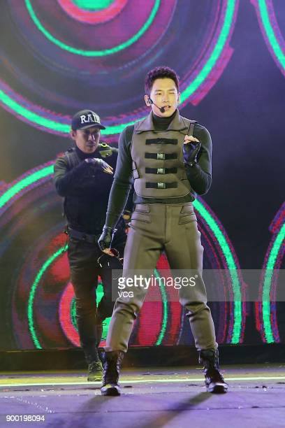 Singer Rain performs onstage during the New Year's Eve gala on December 31, 2017 in Taipei, Taiwan of China.