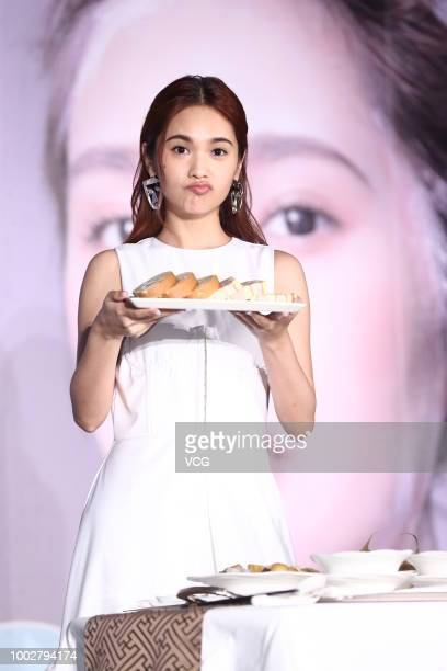 Singer Rainie Yang attends the press conference of her 'Youth Lies Within' World Tour Concert on July 18 2018 in Taipei Taiwan of China