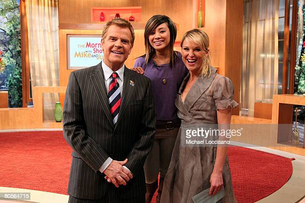 Singer Ramiele Mulubay poses with hosts Mike Jerrick and Juliet Huddy during the Mike And Juliet Show at Fox Studios in New York City on April 8 2008