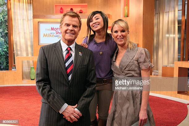 NEW YORK APRIL 08 Singer Ramiele Mulubay poses with hosts Mike Jerrick and Juliet Huddy during the Mike And Juliet Show at Fox Studios in New York...