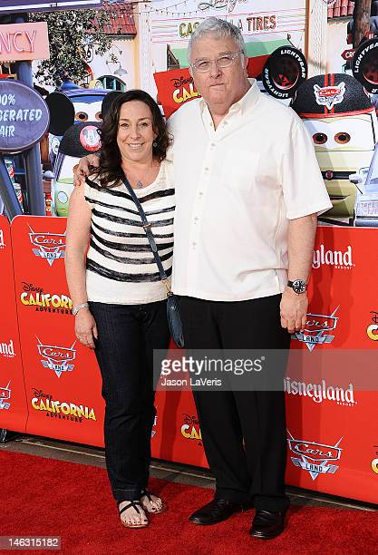 Singer Randy Newman and wife Gretchen Preece attend the grand opening Cars Land at Disney's California Adventure on June 13 2012 in Anaheim California