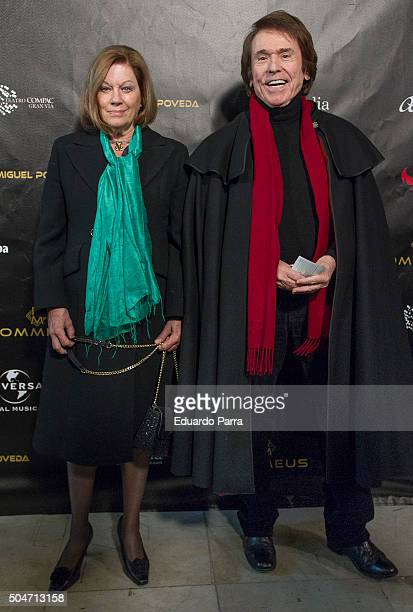 Singer Raphael and wife Natalia Figueroa attend Miguel Poveda's concert at Compac theatre on January 12 2016 in Madrid Spain