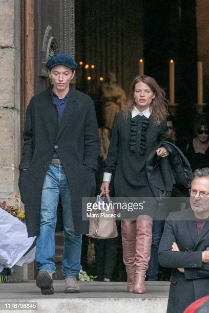 Singer Raphael Haroche and actress Melanie Thierry attend Peter Lindbergh's funeral at Eglise Saint-Sulpice on September 24, 2019 in Paris, France.