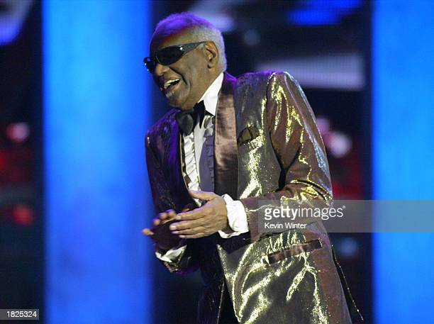 Singer Ray Charles performs during the TV Land Awards 2003 at the Hollywood Palladium on March 2 2003 in Hollywood California