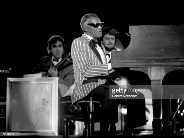 Singer Ray Charles performs with his orchestra at the 1985 Jacksonville Jazz Festival in Jacksonville, Florida.