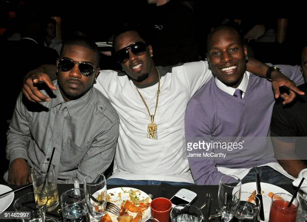 LAS VEGAS OCTOBER 03 Singer Ray J Sean 'P Diddy' Combs and actor Tyrese Gibson attend the TAO and LAVO anniversary weekend held at TAO in the...