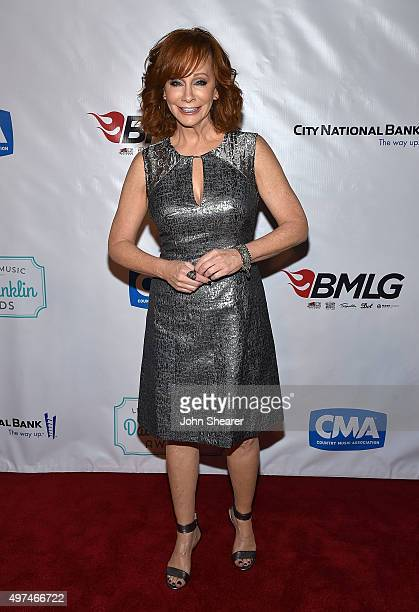 Singer Reba McEntire arrives at the Leadership Music's Dale Franklin Awards at Country Music Hall of Fame and Museum on November 16 2015 in Nashville...