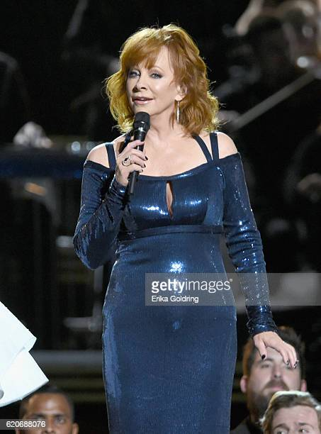 Singer Reba McEntire performs onstage at the 50th annual CMA Awards at the Bridgestone Arena on November 2 2016 in Nashville Tennessee