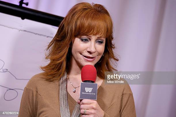 Singer Reba McEntire speaks at the Red Carpet Radio presented by Westwood One Radio during the 50th Academy of Country Music Awards at Arlington...