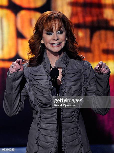 Singer Reba McEntire speaks onstage at the 2009 American Music Awards at Nokia Theatre LA Live on November 22 2009 in Los Angeles California