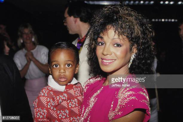 Singer Rebbie Jackson and son Austin at Tyson vs Holmes Convention Hall in Atlantic City, New Jersey January 22 1988.