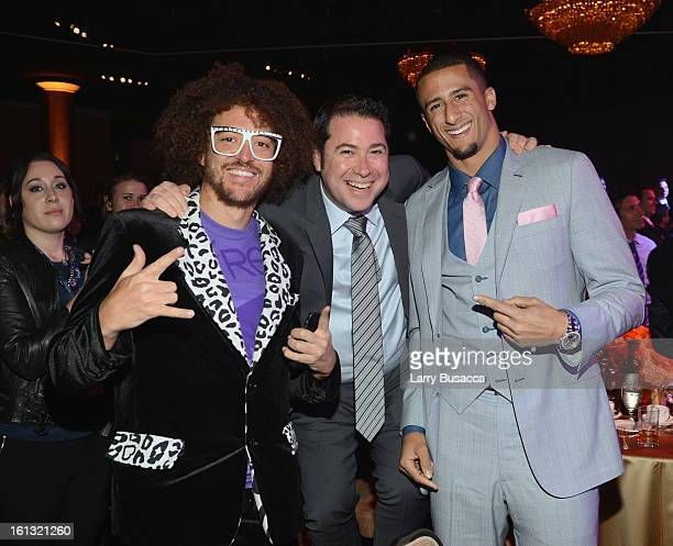 Singer Redfoo of LMFAO Stefan Kendal Gordy and NFL player Colin Kaepernick attend the 55th Annual GRAMMY Awards PreGRAMMY Gala and Salute to Industry...