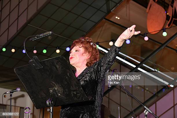 Singer Regine former owner of Club Chez Regine performs during the 'Paris Exhibition Unveiling Cocktail Party at Le Bon Marche on September 7 2016 in...