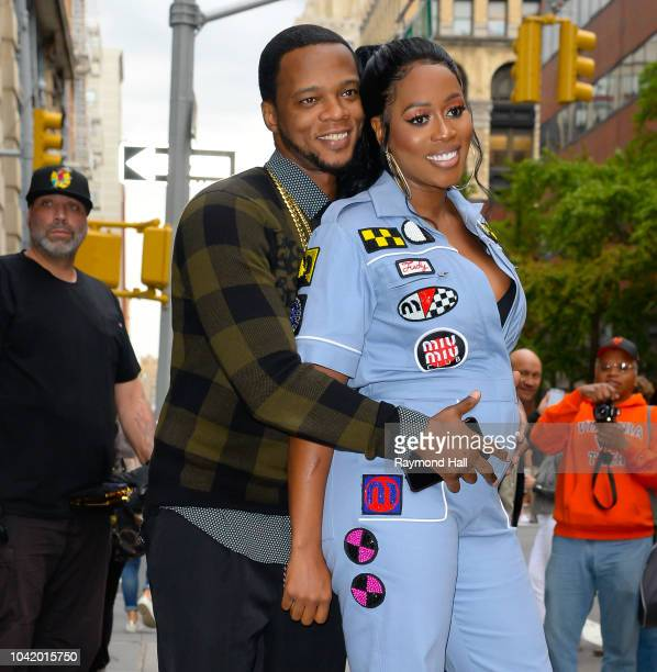 Singer Remy Ma and Papoose are seen leaving Aol Live in Soho on September 27 2018 in New York City