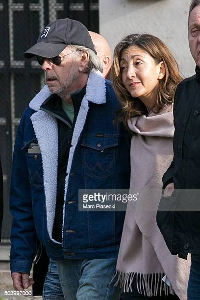 Singer Renaud Sechan and Ingrid Betancourt leave the funerals of french singer Michel Delpech at Saint Sulpice church on January 8 2016 in Paris...