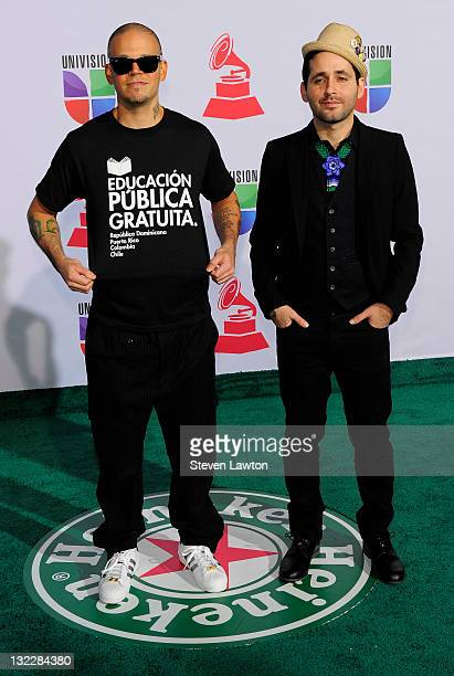 Singer Rene Perez Joglar and musician Eduardo Cabra Martonez of the group Calle 13 arrive at the 12th annual Latin GRAMMY Awards at the Mandalay Bay...