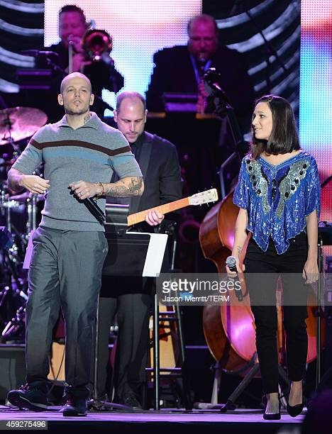 Singer Rene Perez Joglar of and Ileana Cabra Joglar of Calle 13 perform onstage during the 2014 Person of the Year honoring Joan Manuel Serrat at the...