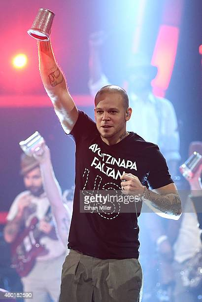 Singer Rene Perez Joglar of Calle 13 performs during the 15th annual Latin GRAMMY Awards at the MGM Grand Garden Arena on November 20 2014 in Las...