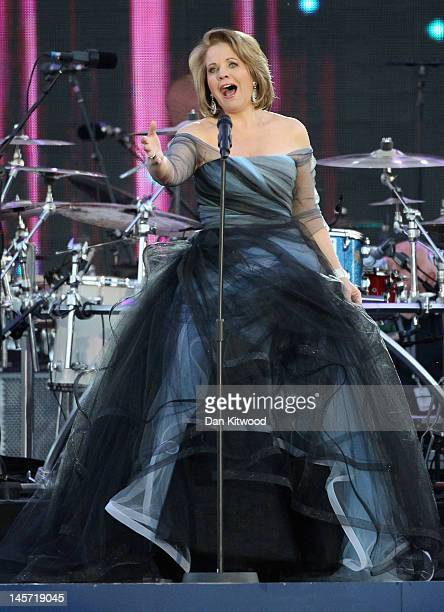 Singer Renee Fleming performs on stage during the Diamond Jubilee concert at Buckingham Palace on June 4 2012 in London England For only the second...