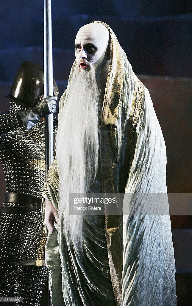 Singer Richard Anderson (Magic Christian) performs during a dress rehearsal of Handel's 'Rinaldo' at the Opera House on July 19, 2005 in Sydney, Australia.