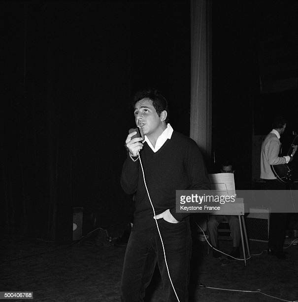 Singer Richard Anthony rehearsing before performances at Olympia music hall in a few days on November 5 1963 in Paris France