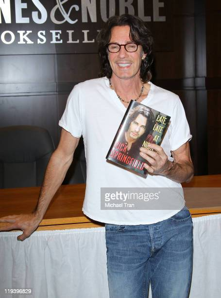 Singer Rick Springfield attends the autograph signing of his new book 'Late Late At Night' held at Barnes Noble bookstore at The Grove on July 19...