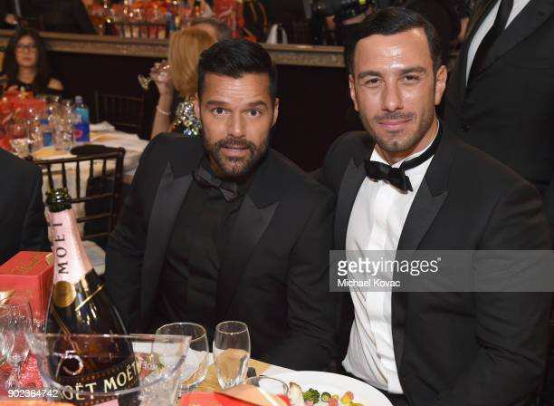 Singer Ricky Martin and artist Jwan Yosef celebrate The 75th Annual Golden Globe Awards with Moet Chandon at The Beverly Hilton Hotel on January 7...
