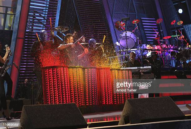 Singer Ricky Martin and Blue Man Group on stage during at the 8th Annual Latin GRAMMY Awards at Mandalay Bay on November 8 2007 in Las Vegas Nevada