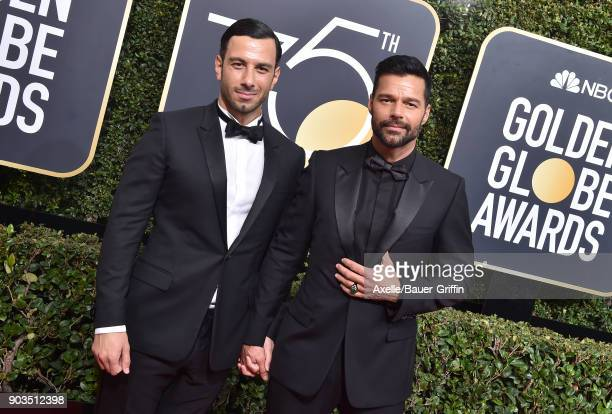 Singer Ricky Martin and Jwan Yosef attend the 75th Annual Golden Globe Awards at The Beverly Hilton Hotel on January 7 2018 in Beverly Hills...