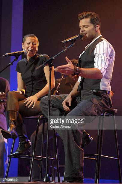 Singer Ricky Martin and Spanish singer LaMari perform on stage during the 53rd Ondas Awards ceremony at Teatre Musical on November 23 2006 in...