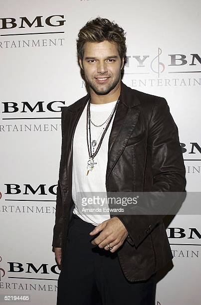 Singer Ricky Martin arrives at the Sony BMG Music Entertainment Grammy Party on February 13 2005 at the Hollywood Roosevelt Hotel in Hollywood...
